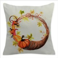 E by Design Cornucopia Wreath Square Throw Pillow in Cream