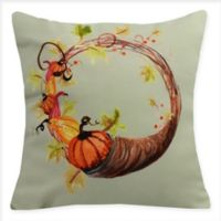 E by Design Cornucopia Wreath Square Throw Pillow in Light Green