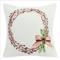 E by Design Sprig of Green Square Throw Pillow in White