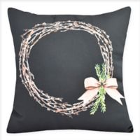 E by Design Sprig of Green Square Throw Pillow in Black
