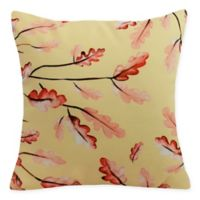 E By Design Wild Oak Leaves Square Throw Pillow in Cream