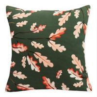 E By Design Wild Oak Leaves Square Throw Pillow in Dark Green