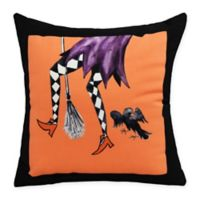 E By Design Fly Away Witch Square Throw Pillow in Orange