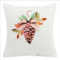 E by Design Natural Ornament Square Throw Pillow in Off-White