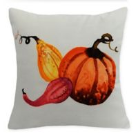 E by Design Harvest Gourd Square Throw Pillow in Cream