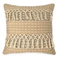American Colors Handwoven Two Tone Fringe Square Throw Pillow in Taupe/Spa Blue