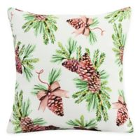 E by Design Greenery Square Throw Pillow in Off White