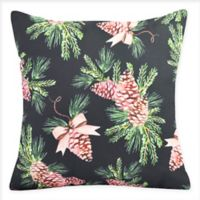E by Design Greenery Square Throw Pillow in Black