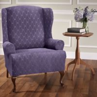 Stretch Sensations Stretch Ogee Wing Chair Slipcover in Grape