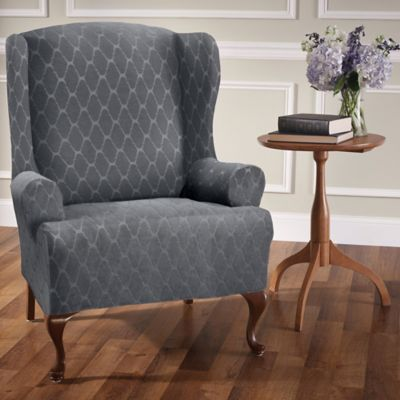 Stretch Sensations Stretch Ogee Wing Chair Slipcover In Grey