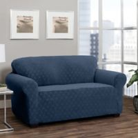 Stretch Sensations Stretch Ogee Sofa Slipcover in Navy