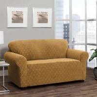 Stretch Sensations Stretch Ogee Sofa Slipcover in Camel