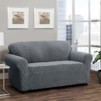 Stretch Sensations Stretch Ogee Sofa Slipcover in Grey