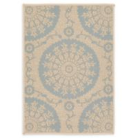 "Unique Loom Medallion Outdoor 2'2"" X 3' Powerloomed Area Rug in Beige/light Blue"