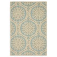 Unique Loom Medallion Outdoor 4' X 6' Powerloomed Area Rug in Beige/light Blue