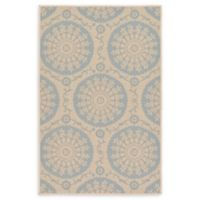 "Unique Loom Medallion Outdoor 3'3"" X 5' Powerloomed Area Rug in Beige/light Blue"