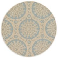 Unique Loom Medallion Outdoor 6' Round Powerloomed Area Rug in Beige/light Blue