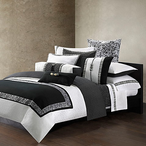 Natori Indochine Duvet Standard Pillow Sham in White/Black