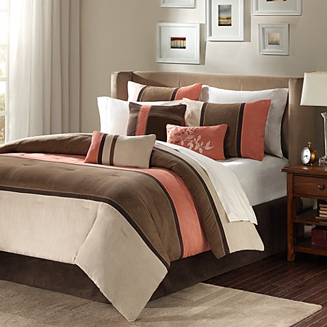 Madison Park Palisades 7 Piece Comforter Set In Coral