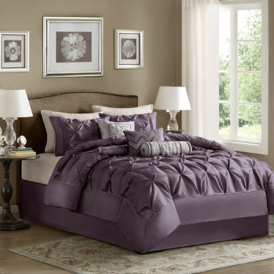 madison park laurel pieced plum 7piece king comforter set - Cal King Comforter Sets