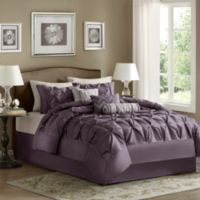 Madison Park Laurel Pieced Plum 7-Piece Queen Comforter Set