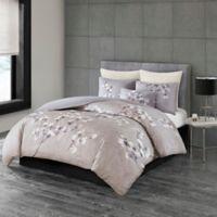 N Natori® Sakura Blossom Printed King Duvet Cover Set in Lilac