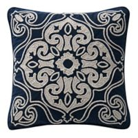 Waterford® Asher Embroidered Square Throw Pillow in Navy