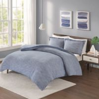 Urban Habitat Space Dyed Jersey Knit 3-Piece Full/Queen Comforter Set in Blue
