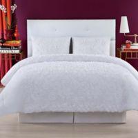 Christian Siriano Pretty Petals Full/Queen Comforter Set in White