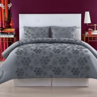 Christian Siriano Pretty Petals Full/Queen Comforter Set in Grey