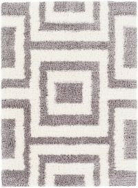 Surya Winfield 5'3 x 7'3 Loomed Shag Area Rug in Medium Grey