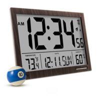 Slim Jumbo Atomic Digital Clock in Wood