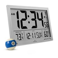 Slim Jumbo Atomic Digital Clock in Grey