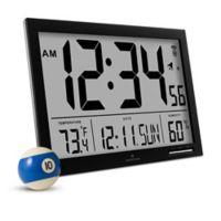 Slim Jumbo Atomic Digital Clock In Black