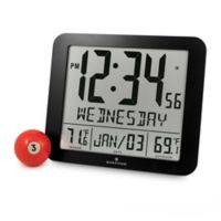 Large Display Slim Atomic Digital Clock with Indoor/Outdoor Temperature in Black