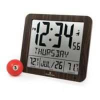 Large Display Slim Atomic Digital Clock with Indoor/Outdoor Temperature in Wood