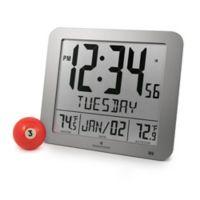 Large Display Slim Atomic Digital Clock with Indoor/Outdoor Temperature in Grey