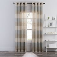 Brix Stripe Grommet 108-Inch Sheer Window Curtain Panel in Taupe