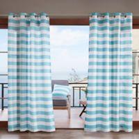 Madison Park Percee 3M Scotchgard 95-Inch Grommet Outdoor Window Curtain Panel in Aqua