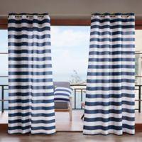Madison Park Percee 3M Scotchgard 84-Inch Grommet Outdoor Window Curtain Panel in Navy