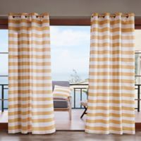 Madison Park Percee 3M Scotchgard 84-Inch Grommet Outdoor Window Curtain Panel in Yellow