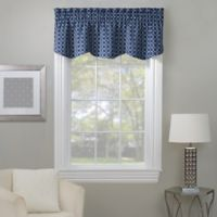 Rings Embroidered Window Valance in Navy