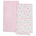 Gerber® 4-Pack Love Flannel Blankets in Pink