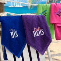 His or Hers Personalized 35-Inch x 60-Inch Honeymoon Beach Towel