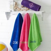 Colorful Embroidered 35-Inch x 60-Inch Beach Towel - Name