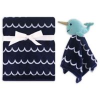 Hudson Baby® Narwhal Security Blanket Set in Blue