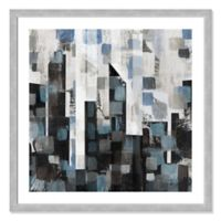 Patchwork Blue City II 33-Inch Square Framed Wall Art