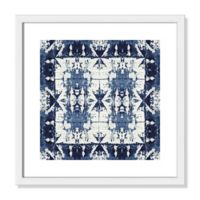 Shibori Border 17-Inch Square Framed Wall Art