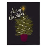 Merry Christmas Little Tree 16-Inch x 20-Inch Canvas Wall Art