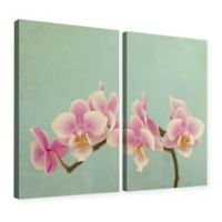 Pink Orchid 24-Inch x 32-Inch Diptych Gallery Canvas Wall Art in Blue